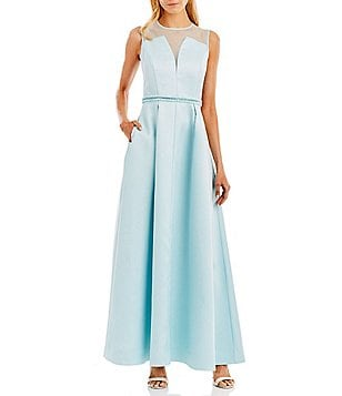 Nicole Miller New York Illusion Sheer Top Beaded Waist Gown