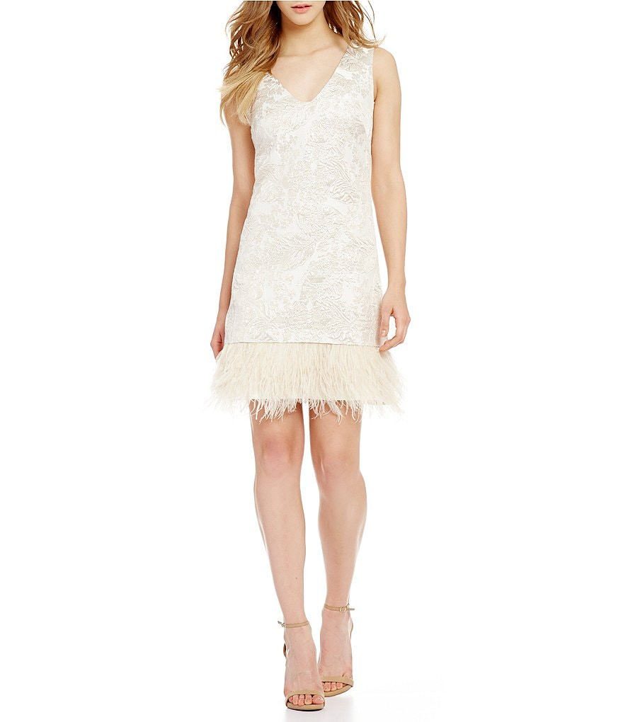 Nicole Miller New York V-neck Feather Fringe Bottom Dress