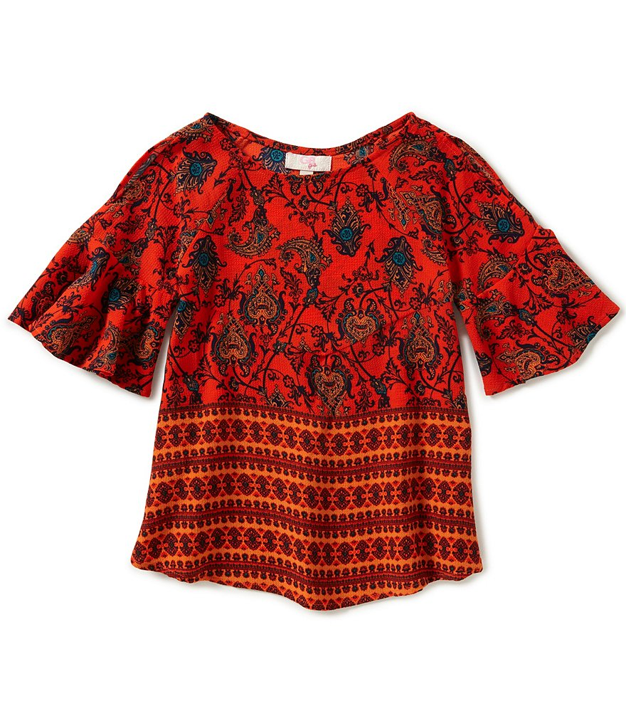 GB Girls Big Girls 7-16 Cold-Shoulder Border Print Blouse