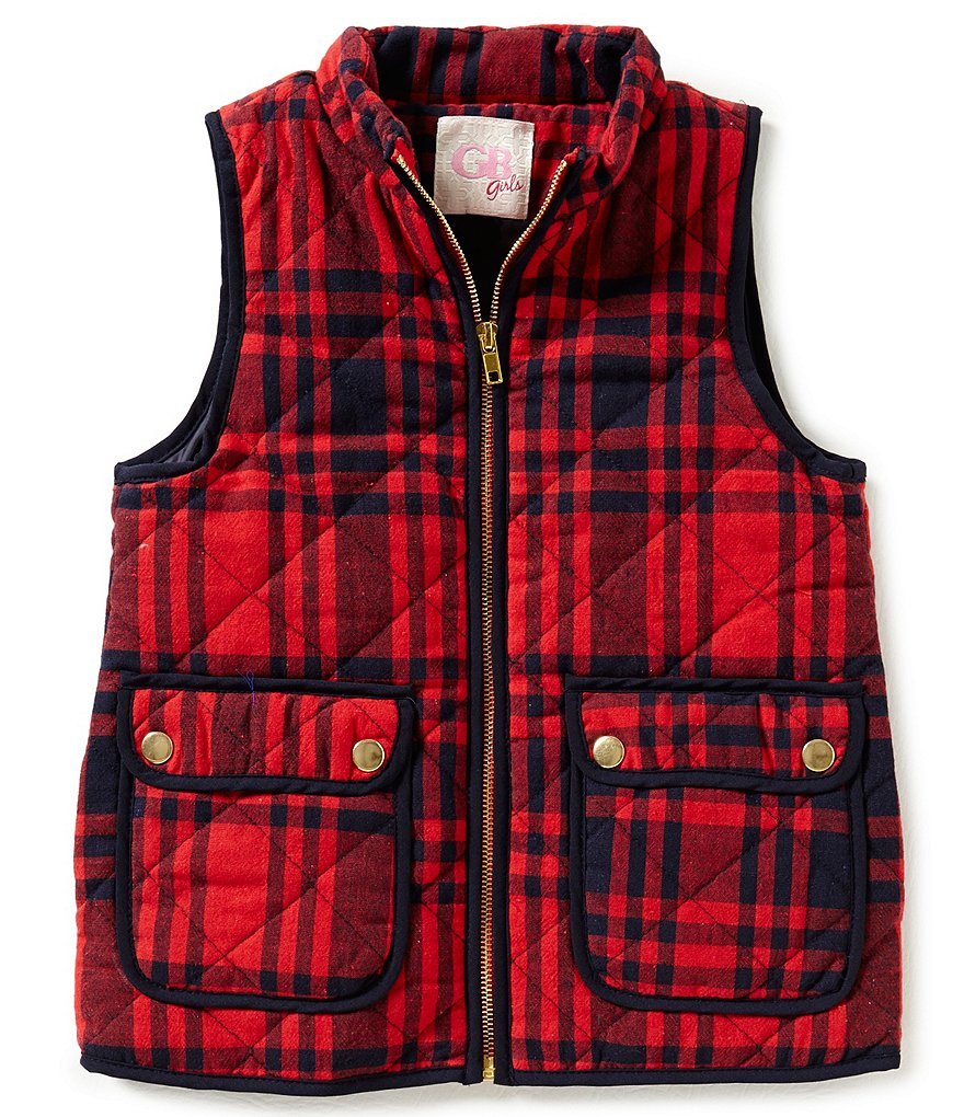 GB Girls Big Girls 7-16 Plaid Puffer Vest