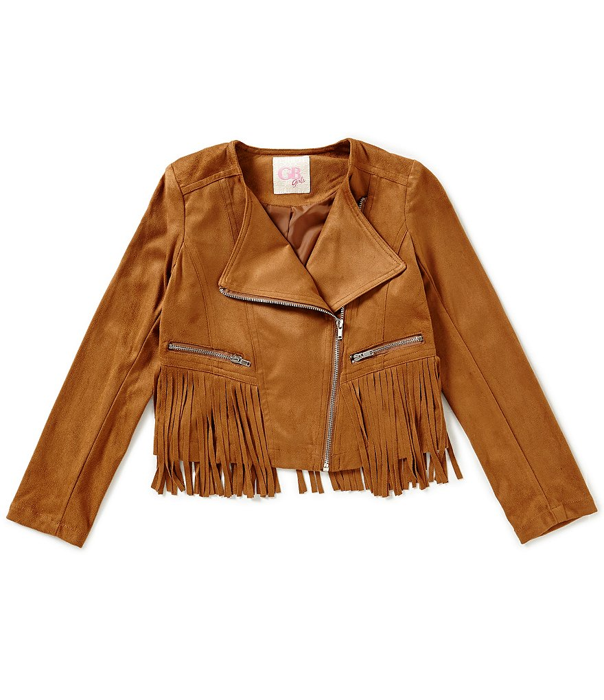 GB Girls Big Girls 7-16 Faux-Suede Fringe Moto Jacket