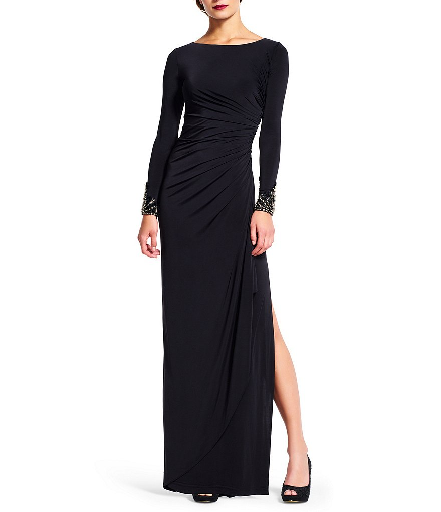 Adrianna Papell Petite Beaded-Cuff Draped Gown