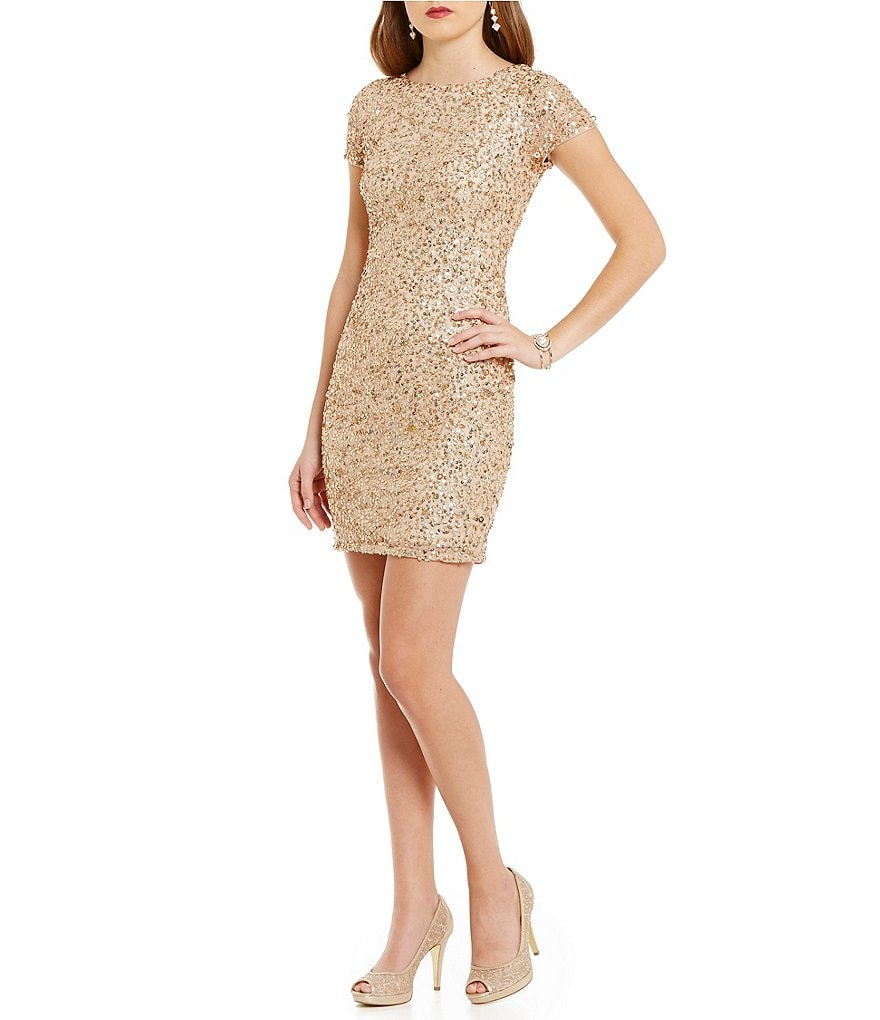 Adrianna Papell Petite Short-Sleeve Beaded Cocktail Dress