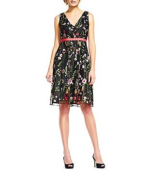 Adrianna Papell V-Neck Sleeveless Embroidered Tulle Dress