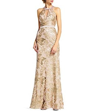 Adrianna Papell Sequin Halter Mermaid Gown