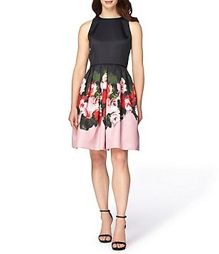 Tahari ASL Petite Round Neck Sleeveless Floral Printed Fit-And-Flare Dress