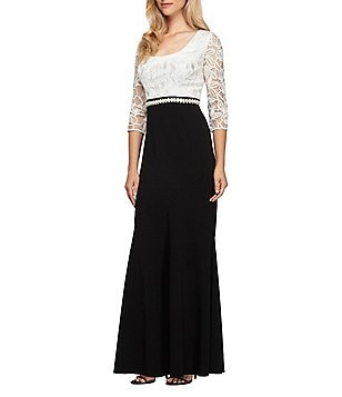 Alex Evenings Petite Lace-Bodice Two-Tone 3/4 Sleeve Fit-and-Flare Gown
