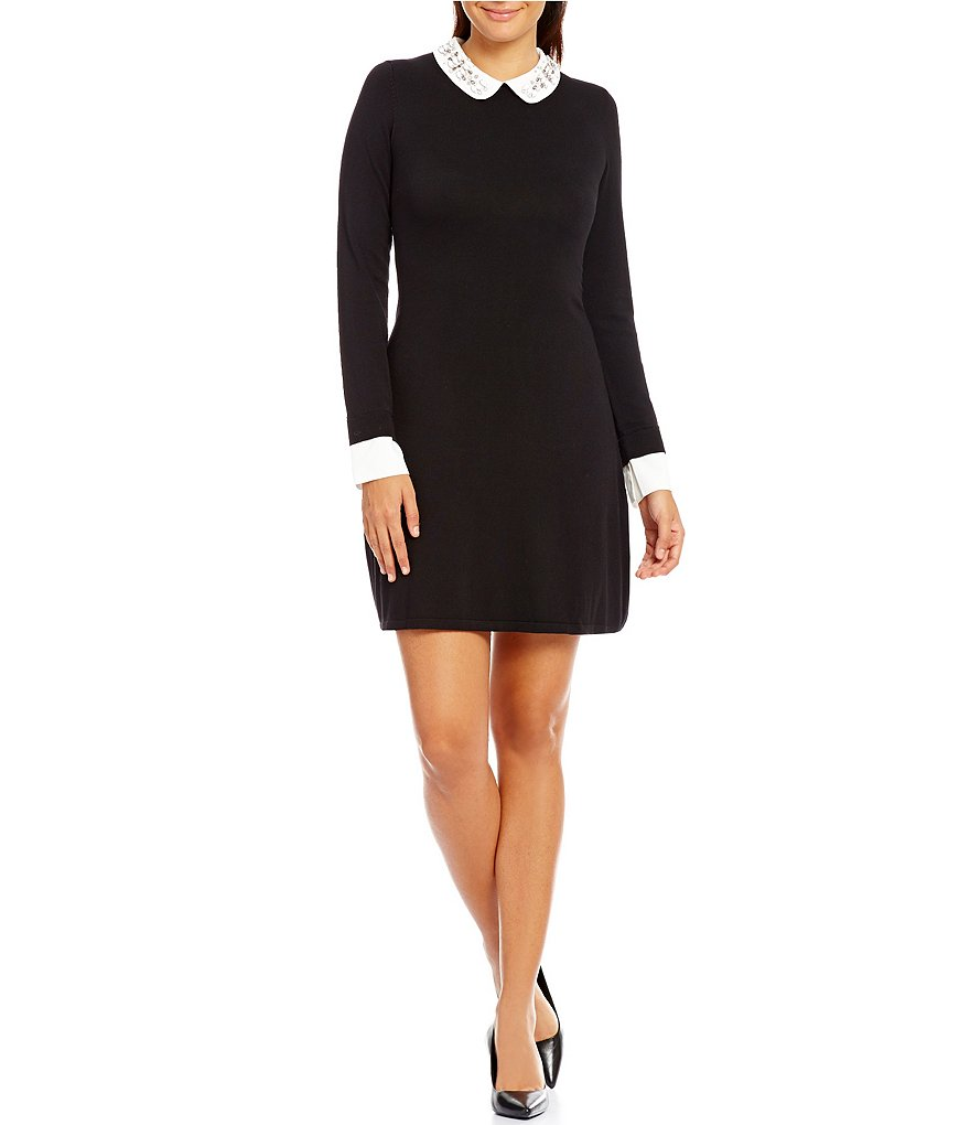 Ivanka Trump Embellished Peter Pan Collar Fine Gauge Knit Sweater Dress