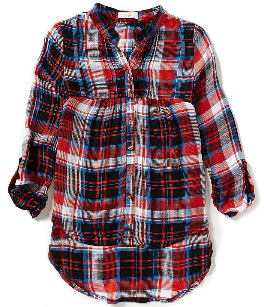 GB Girls Big Girls 7-16 Woven Plaid High-Low Tunic