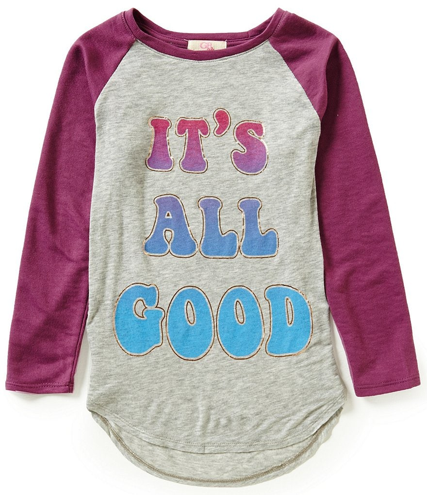 GB Girls Big Girls 7-16 Knit All Good Baseball Tee