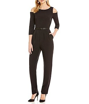 Eliza J Cold Shoulder Long Sleeve Jumpsuit