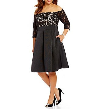 Eliza J Plus Off-the-Shoulder 3/4 Sleeve Solid Lace Fit-And-Flare Midi Dress