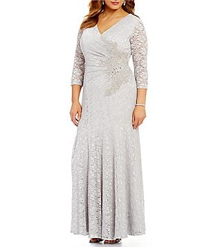 Alex Evenings Plus Illusion 3/4 Sleeve Lace Beaded-Waist A-Line Gown