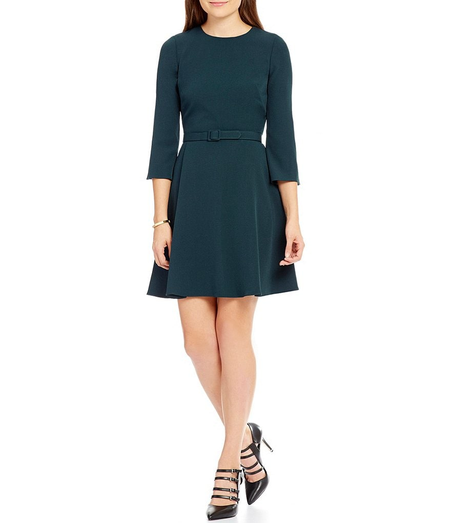 Eliza J Round Neck Belted Fit-And-Flare Dress
