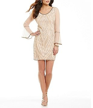 Pisarro Nights Scoop Neck Beaded Bell Sleeve Sheath Dress