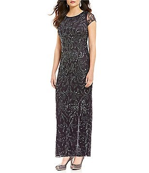 Pisarro Nights Beaded Short Sleeve Boat Neck Gown