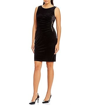 Ivanka Trump Sunburst Pleated Zipper-Trim Velvet Sheath Dress