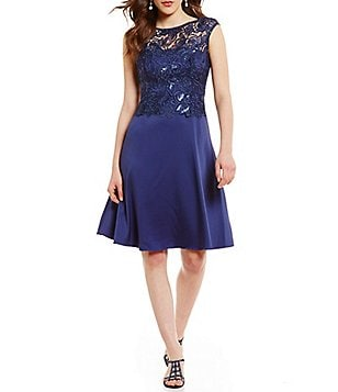 Adrianna Papell Round Neck Cap Sleeve Lace A-Line Dress