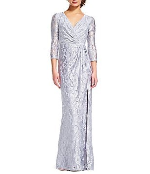 Adrianna Papell V-Neck 3/4 Sleeve Faux Wrap Lace Gown
