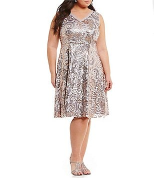 Brianna Plus V-Neck Sequined Fit-and-Flare Dress