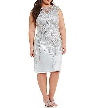 Brianna Plus Sequined Soutache Sheath Dress