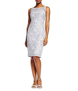 Adrianna Papell Sequin Embroidered Lace Sheath Sleeveless Dress