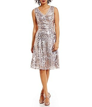 Brianna V-Neck Sequined Fit-and-Flare Dress