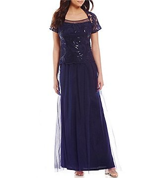 Brianna Square Neck Short Sleeve Sequined Bodice Gown