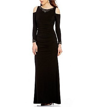 Adrianna Papell Beaded Necklace Long Sleeve Cold-Shoulder Solid Gown