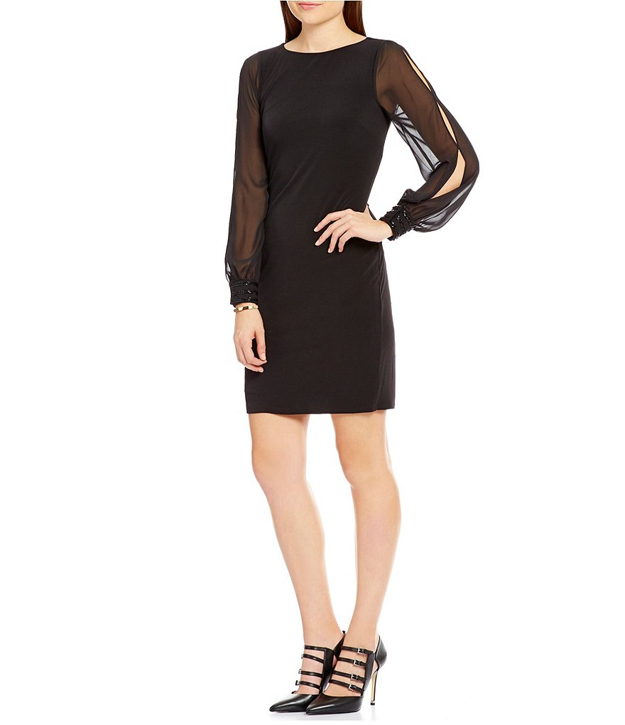 Ivanka Trump Chiffon Sleeve Matte Jersey Sheath Dress
