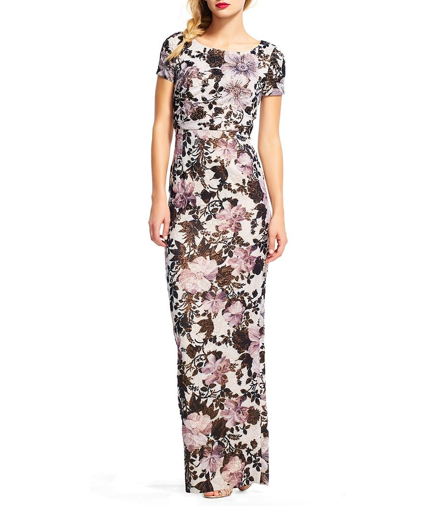 Adrianna Papell Petite Floral Metallic Matelasse Column Gown