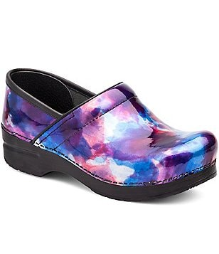 Dansko Professional Watercolor Print Patent Leather Slip-On Clogs