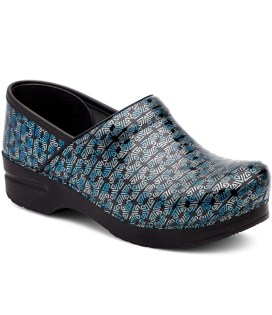 Dansko Professional Motif Print Patent Leather Slip-On Clogs