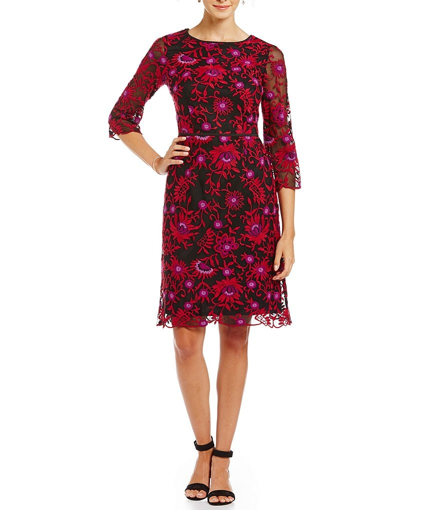 Adrianna Papell Petite Embroidered Lace Sheath Dress