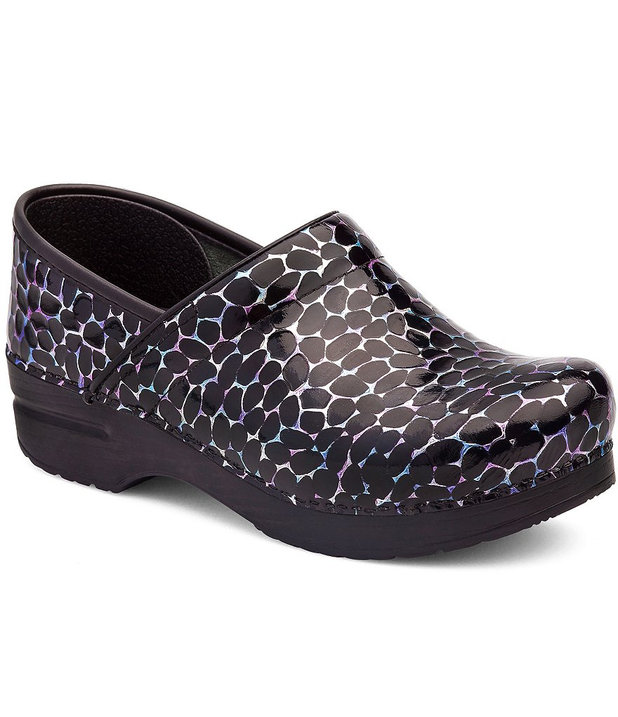 Dansko Professional Stone Printed Patent Leather Slip-On Clogs