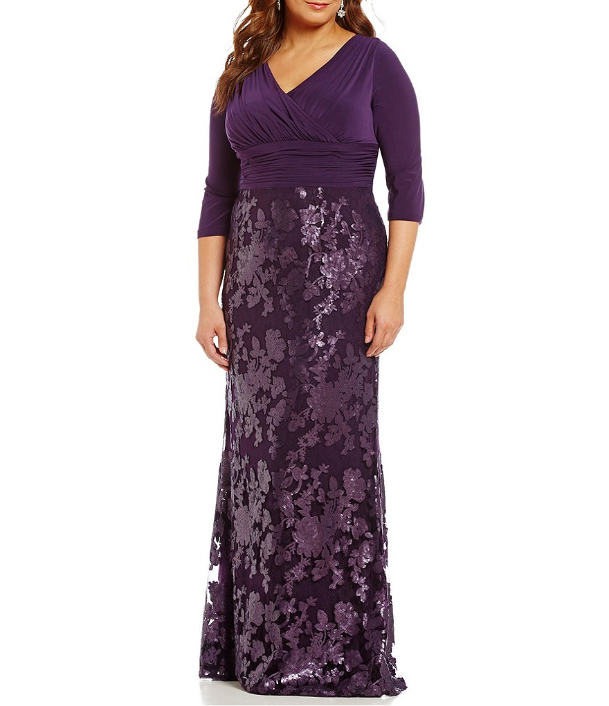 Adrianna Papell Plus V-Neck Sequined-Lace Gown