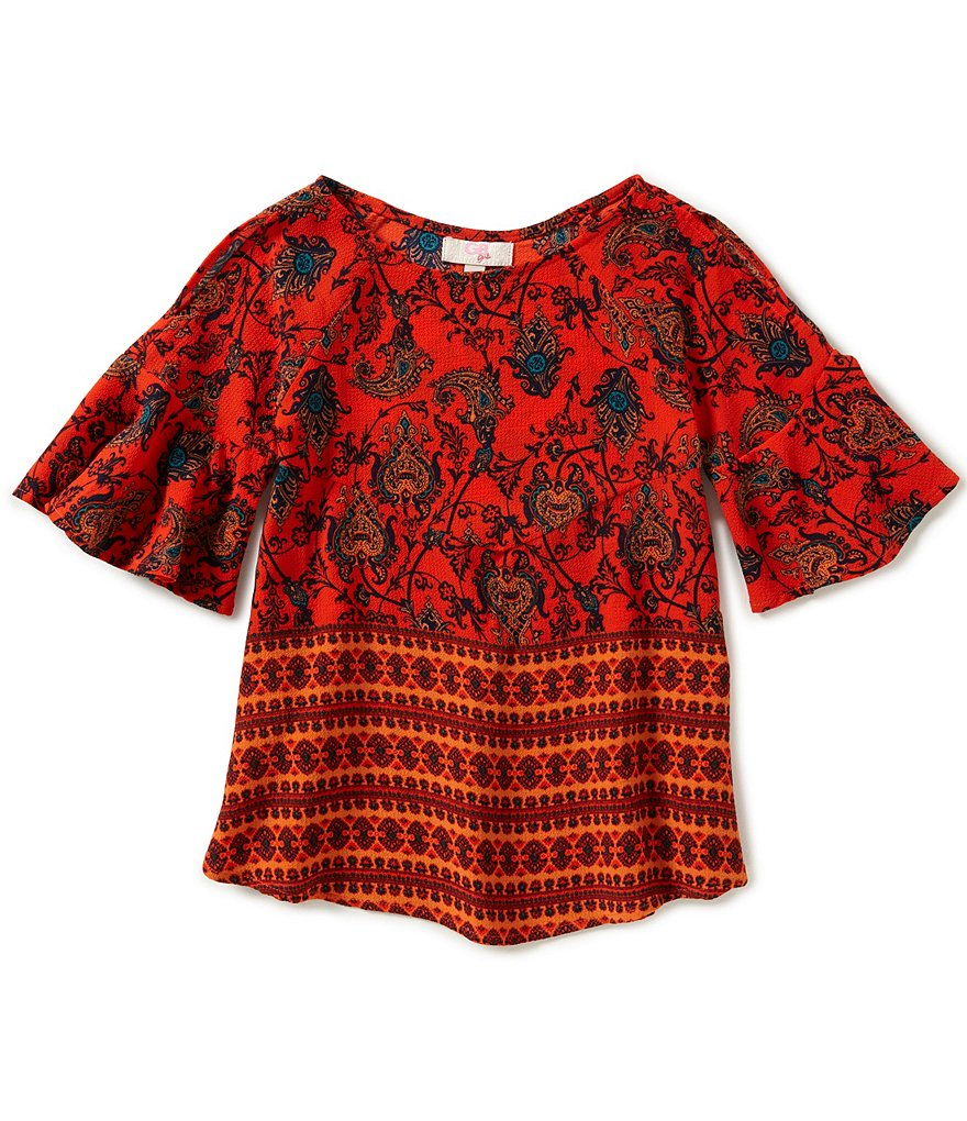 GB Girls Little Girls 4-6X Cold-Shoulder Border Print Blouse