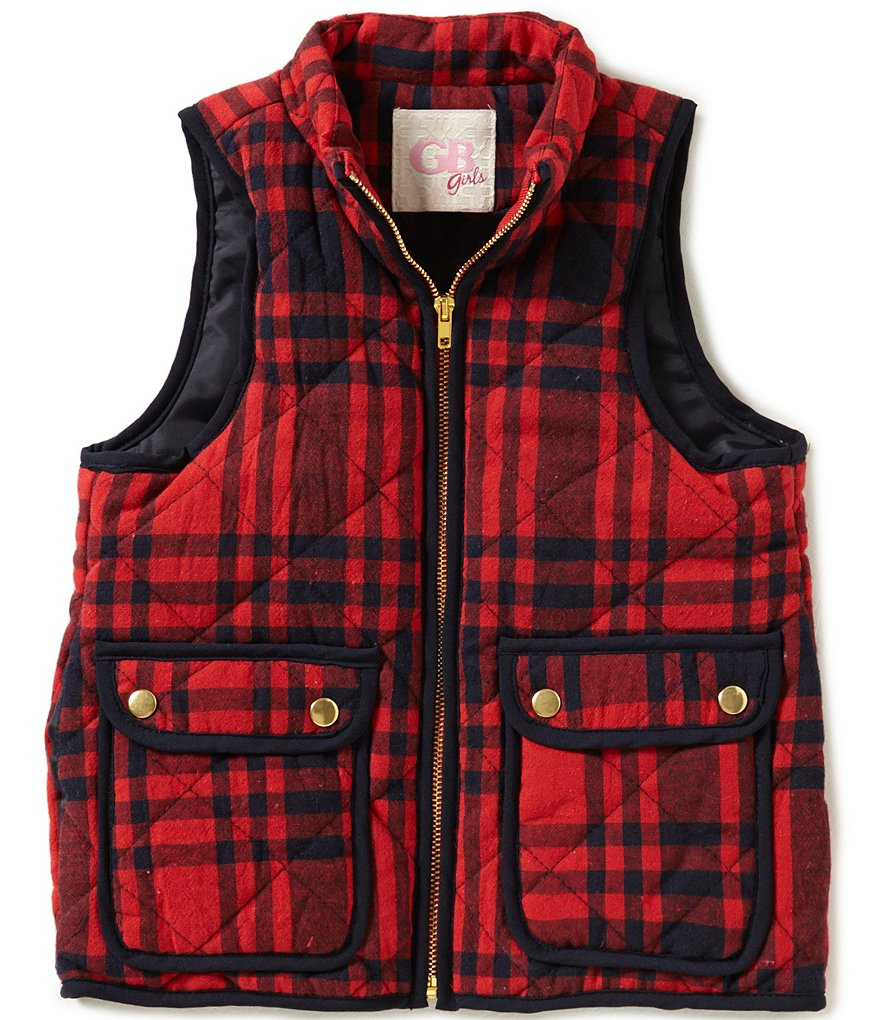 GB Girls Little Girls 4-6X Plaid Puffer Vest
