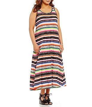 Lauren Ralph Lauren Plus Striped Jersey Racerback Maxi Lounge Dress