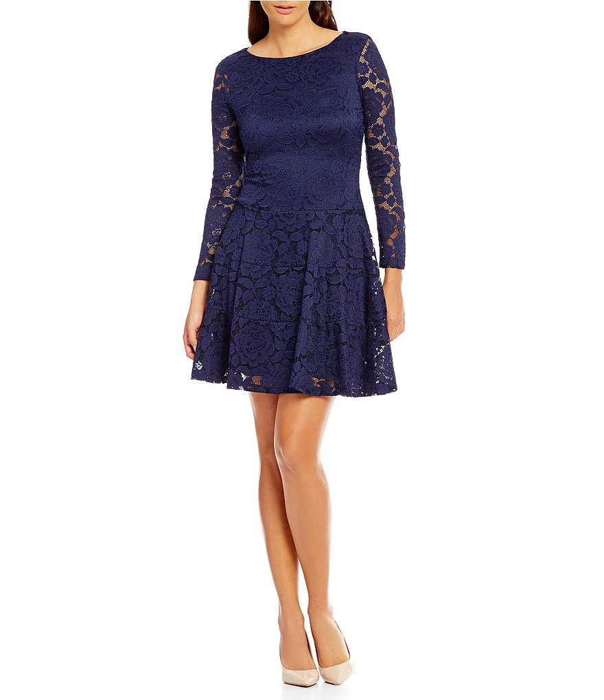 Ivanka Trump Floral Lace Fit-And-Flare Dress