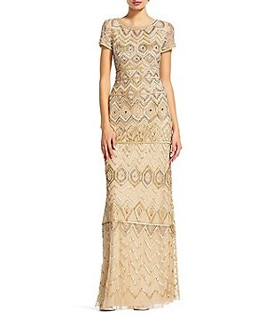 Adrianna Papell Beaded Boat Neck Cap Sleeve Gown