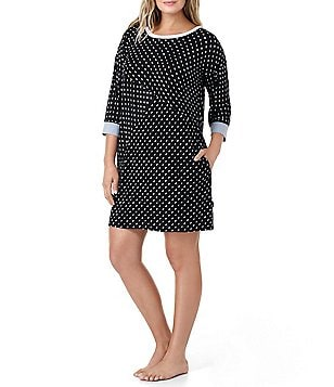 DKNY Plus Dotted Jersey Sleepshirt