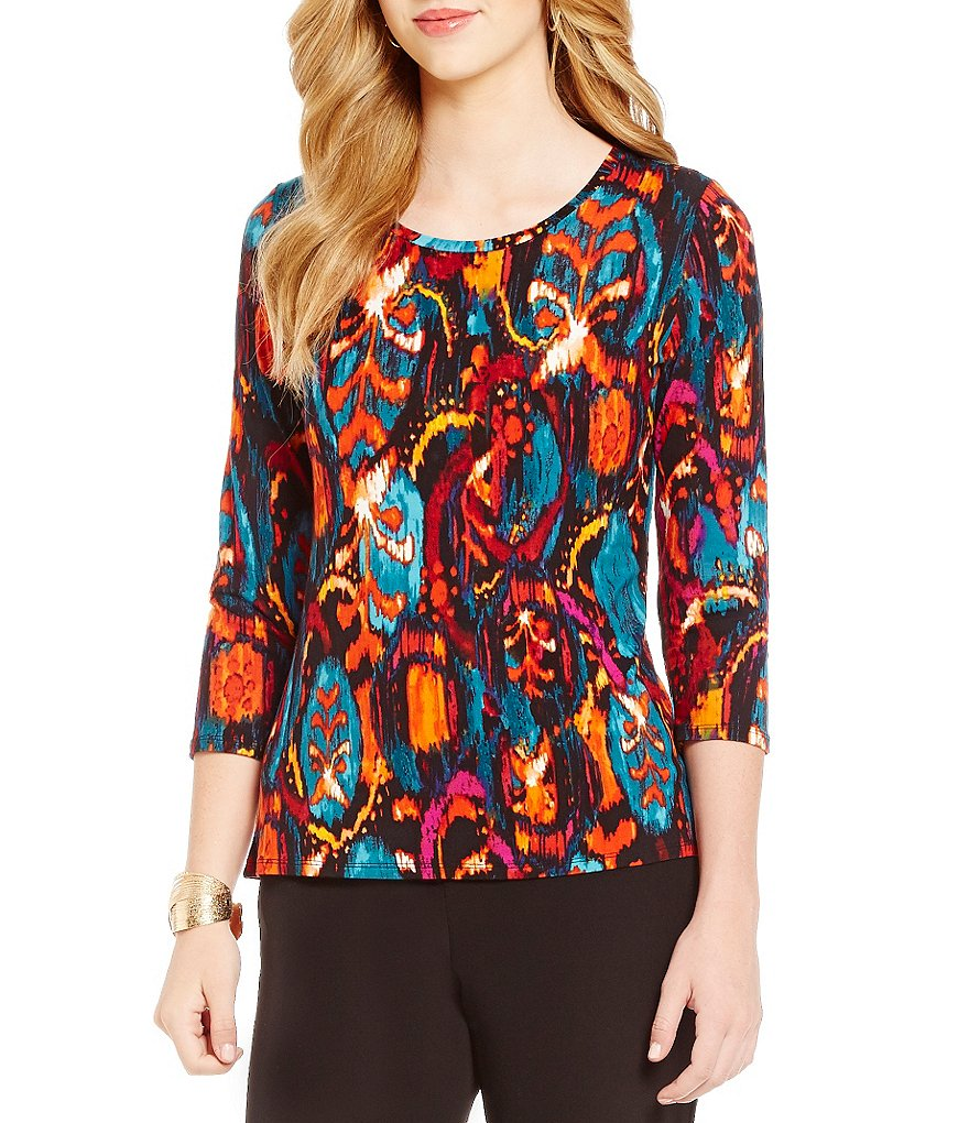 Investments Essentials Printed Scoop Neck 3/4-Sleeve Top