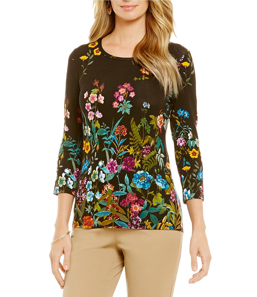 Investments Essentials Printed 3/4-Sleeve Top