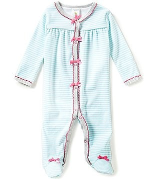 Starting Out Baby Girls Newborn-6 Months Stripe Picot-Trim Footed Coverall