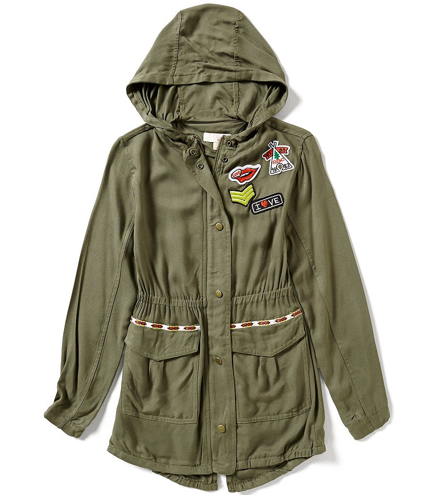 GB Girls Little Girls 4-6X Patched Hooded Army Jacket