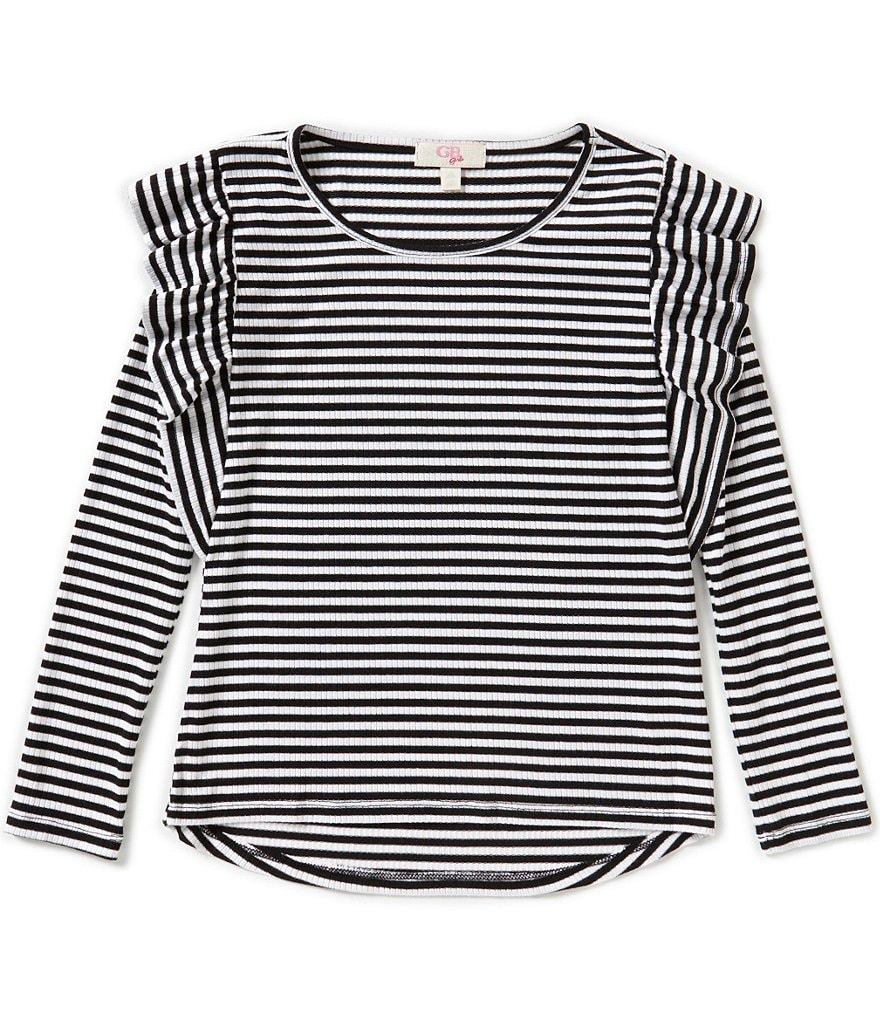 GB Girls Little Girls 4-6X Long-Sleeve Ruffle Shoulder Knit Tee