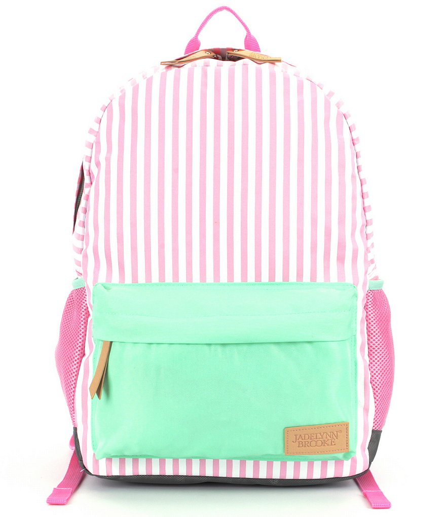 Jadelynn Brooke Pink Striped Backpack