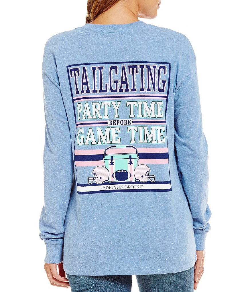 Jadelynn Brooke Long-Sleeve Party Time Game Time Tailgate Graphic Tee