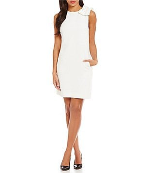 Tahari ASL Shoulder Bow Shift Dress